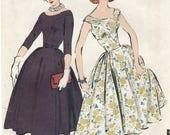 Portrait Shoulder Yoke Dress Sewing Pattern Size 16 Bust 36 Advance 8346 UNCUT Fitted Bodice, Gored Skirt, Yoke Neckline, Belted, RAB 1950s