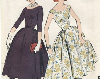 Portrait Shoulder Yoke Dress Sewing Pattern Size 16 Bust 36 Advance 8346 UNCUT Fitted Bodice, Gored Skirt, Yoke Neckline, Belted, RAB 1950s