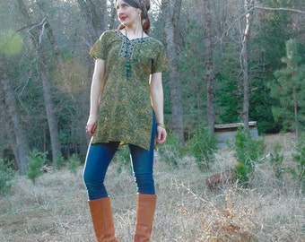 Size S/M... Indian Tunic... Opulent Green and Gold... Gold Stamped... Boho Chic... Forest Sprite