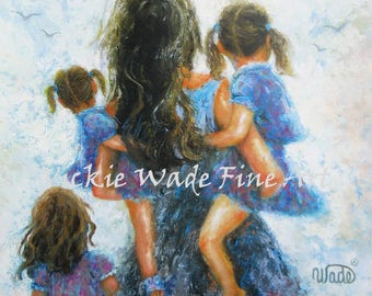Mother Three Daughters Art Print, mother paintings, mom, three girls, carrying daughters, three sisters, gift, girls room, Vickie Wade