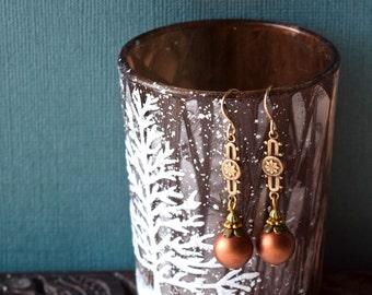 Victorian Vintage Edwardian Earrings Art Nouveau Snowflake Filigree Rust Matte Czech Glass 14kt Gold filled Earwires Christmas Winter  SALE