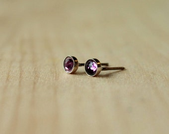 4mm or 5mm Swarovski Amethyst Crystal Bezel Set on Niobium or Titanium Posts (Hypoallergenic Stud Earrings for Sensitive Ears)