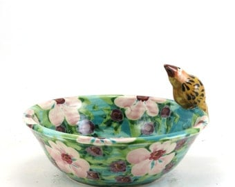Ceramic Bowl with Bird - Hand-Painted Pink with Flowers - Floral Nature Inspired Porcelain Dish OOAK Collectible