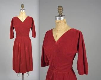 1950s glamorous rhinestone dress • vintage 50s dress • velvet evening dress