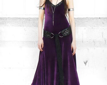 WITCHY VELVET DRESS full length camisole maxi dress with scalloped stretch lace trim