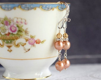 Pink Freshwater Pearl Earrings Peach Earrings Pink Earrings Long Earrings Swarovski Sterling Silver Earrings Bridal Earrings Pastel Wedding