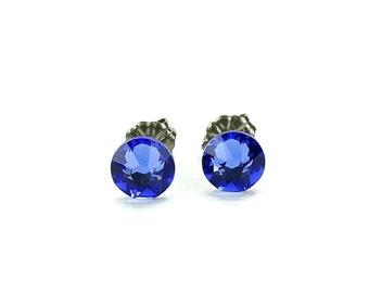 Titanium Stud Earrings Blue Sapphire Swarovski Crystal on Titanium Posts for Sensitive Ears, Hypoallergenic Titanium Jewelry