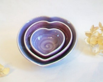 Purple / Plum  Nesting Heart Bowls - Set of 3, Handmade, Shades of Purple - 4.5inch Diameter - A Lovely Gift - Ready to ship Now