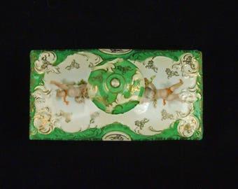 Lovely Vintage Porcelain Ink Blotter Unused Cherubs Angels Green White Gold Con O Lite Check Stamp