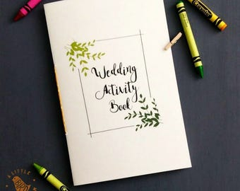 Printable Kids Wedding Activity Book. Green Vines kids coloring and games book. PDF file. WK549