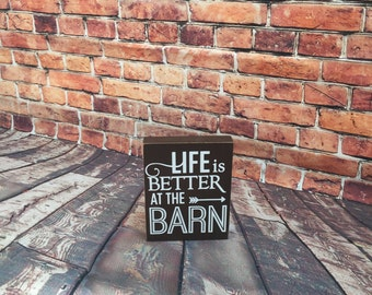 Barn sign glitter distressed mini sign Life is better in the Barn