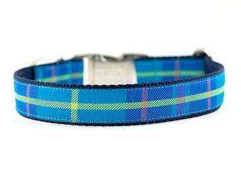 """Preppy Blue Plaid Collar, Preppy Plaid Collar, Blue Plaid Collar, Plaid Dog Collar, Buckle Collar, Martingale Collar, 1"""" Wide"""