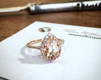 Pear Shape Morganite Diamond Halo Rose Gold Engagement Ring
