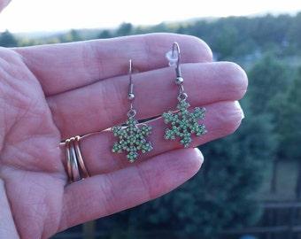 Green Rhinestone 925 Sterling Silver Snowflake Charm Earrings - Winter Holiday Frozen Princess Jewelry