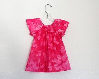 Little Girls Valentine Day Dress - Dark Pink Batik with Light Pink Hearts - Girls Pink Flutter Sleeve Dress - Size 12m, 18m, 2T, 3T, 4, or 5
