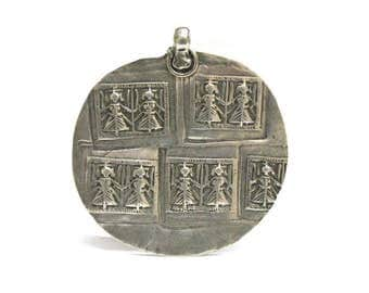 Antique Indian Amulet, Duo Goddess Devi,  Hoi Mata Pendant, Rajasthan, India, High Grade Silver, 13 Grams, Ethnic Tribal, Old India Pendant