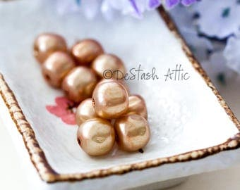 Vintage Pearl Beads Light Brown Miriam Haskell Baroque Glass Pearl Beads from Japan 10mm