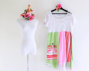 Upcycled Funky Dress Crochet lace pink green boho clothing Eco chic Mori girl shabby eclectic artsy Romantic Asymmetrical rustic wear L