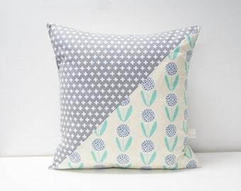 Patchwork Pillow Cover, 20x20, Grey crosses / teal floral