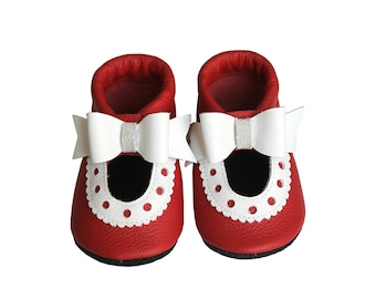 Leather Baby Sandals with Ribbon, Baby Shoes, Infant, Newborn Shoes, Nursery, Children Shoes, Red, White