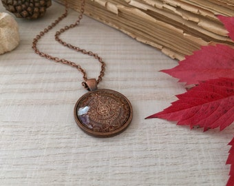 Maya Calendar Necklace, Antique Copper Pendant,Glass Cabochon Pendant With Chain