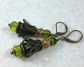 Edgy and Unique Baroque Earrings // Peridot Green Crystal Earrings //  Bronze and Brass //   Brass Filigree // Neo Victorian Earrings