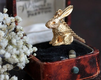 Gold rabbit necklace, gold bunny necklace, gold hare necklace, nature jewellery, woodland jewellery
