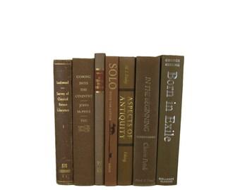 Brown  Decorative Books , Brown Vintage Books , Home Decor , Old Books , Vintage Photo Props , Table Setting , Wedding Decor