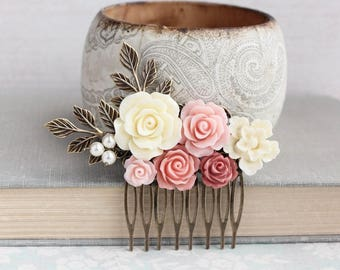 Bridal Hair Comb Ivory Cream and Blush Pink Rose Comb with Branches and Pearls Floral Romantic Off White Wedding Brides Hair Piece