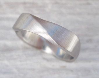 Matte Mobius wedding ring, 6mm wide mobius Matte  wedding band, gold infinity wedding ring, gold wedding band gold mobius wedding band