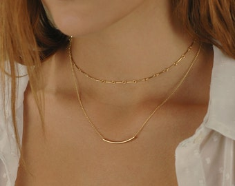 Gold Bar Link Choker, Tiny Bar Necklace, Tattoo necklace, 14k gold filled, Layering Jewelry, Trendy Choker Necklace, Dainty choker