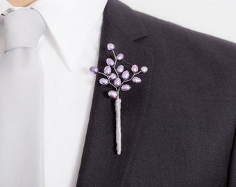 Freshwater Pearl Boutonniere - Lavender Purple Boutonniere for Weddings or Prom - Mens Wedding Boutonniere - Prom Boutonniere -
