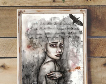Mixed Media Original Painting - Splatter Watercolor - 9x12 inches - Portrait of a Woman and Raven