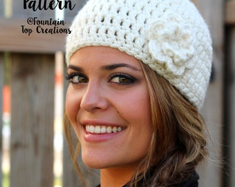CROCHET PATTERN -Easy Peasy Woman's Hat with Flower-Beanie- Instant Download