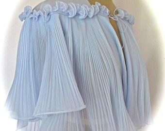 Vintage 1960s BOUDOIR Baby Blue BED JACKET Vanity Fair Butterfly Sleeves Accordion Pleated Lingerie