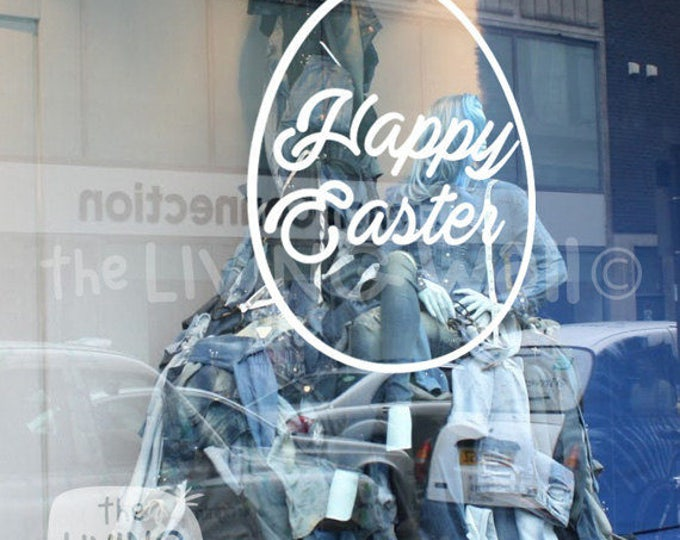 Featured listing image: Happy Easter Egg, Decorative Glass Shop Kids Window Display, Removable Sticker Australian Made