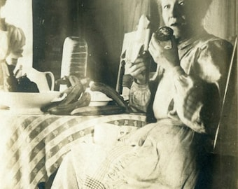 """Antique Photograph """"Hungry in Time"""" Woman Eating Eat Food Kitchen Hungry Interior House Mother Mom Old Black & White Photo Vernacular - 104"""