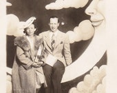 Paper Moon and Stars- 1930s Vintage Photograph- Man in the Moon- Dream a Little- Novelty Portrait- Real Photo Postcard- RPPC- Paper Ephemera