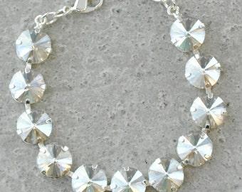 Silver Bridesmaids Bracelet Swarovski Crystal Silver Shade Rhinestone Bracelet Silver Wedding Classic Bracelet Bridal Wedding Jewelry Bride