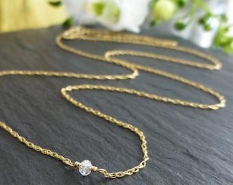 Diamond Necklace, Diamond Briolette,Diamond Solitaire,Minimalist Necklace,Layering Necklace,Wedding Necklace, Real Diamond, April Birthstone