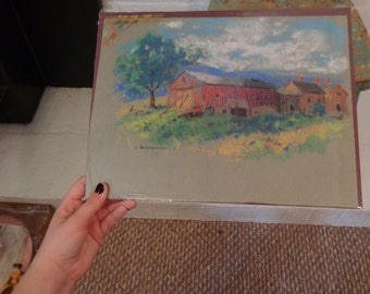 Barn Landscape Done in beautifully colored pastels
