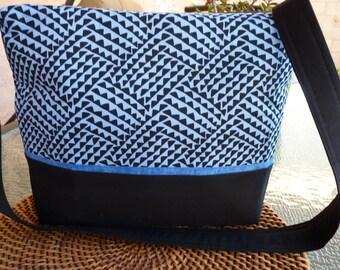 Handcrafted Fabric Zipper Purse/Handbag/Shoulder Bag with inside pockets
