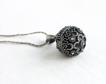 Ornate Mexican Harmony Chime Sterling Silver Ball Pendant Vintage Jewelry 20 Inch Chain Necklace Etruscan Style Orb