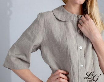 Linen Pajama Set Laced for Women/Luxury Linen Pajama/ Linen Sleepwear