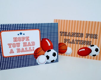 Sports Folded Note Thank you Note Team Coach Baseball Basketball Soccer Football Birthday