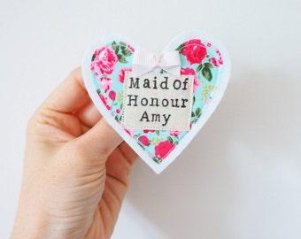 Maid of Honour/ honor wedding badge/ pin