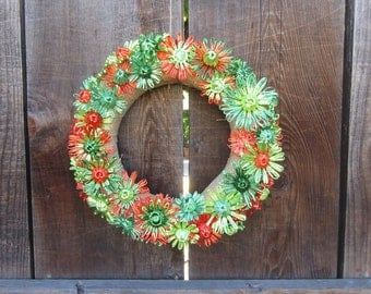 Abigale 12 inch burlap wreath with bright orange and shades of green flowers woven in vintage Swistraw by Ruby Buffalo.