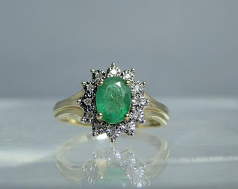 RESERVED... Vintage 10k Gold Ring Emerald and Diamond Vintage Yellow and White Gold Ring Size 5.75 DanPickedMinerals