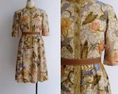 """20% Code """"JINGLE20"""" - Vintage 70's Batik Beauty Lotus Floral Print Cotton Dress S or M"""