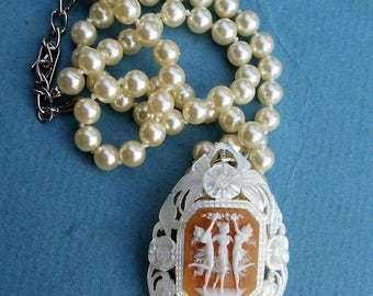 3 GRACES Shell CAMEO on Antique  Mother of Pearl Pendant,  Both Hand Carved Georgeous, Faux Pearl Necklace.  3 Women Dancing and Celebrating